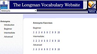 "This is an image from this resource on the Internet4Classrooms' ""Use Reference Materials Research 3rd Grade Language Arts Standards I4C"" resource page:    Practice with Antonyms.    The exercises are grouped into beginner, intermediate, and advanced levels. Be sure to have a dictionary handy! [This expired link is available through the Wayback Machine Internet Archive. If the page doesn't load quickly click on Impatient? at the bottom right of the page.]"