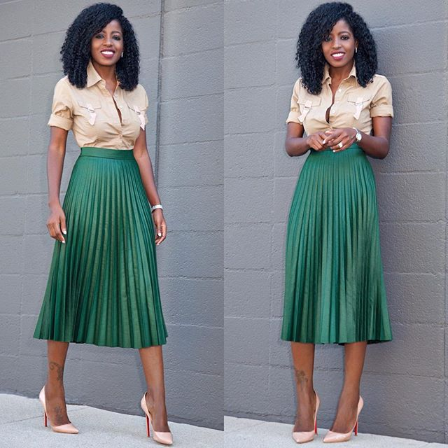 Military Style Shirt x Accordion Skirt. Link in bio for outfit details...