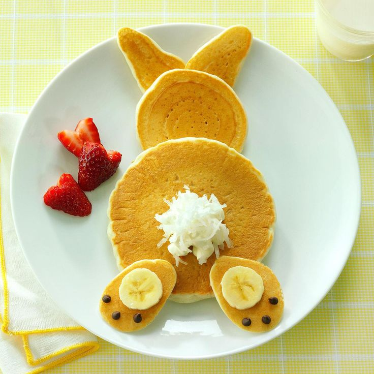 Fluffy Bunny Pancakes Recipe -Kids will love that it's as tasty as it is cute. If you're in a rush, you can substitute pancake mix so you can hightail it out of the kitchen in no time.—Shannon Roum, Milwaukee, Wisconsin