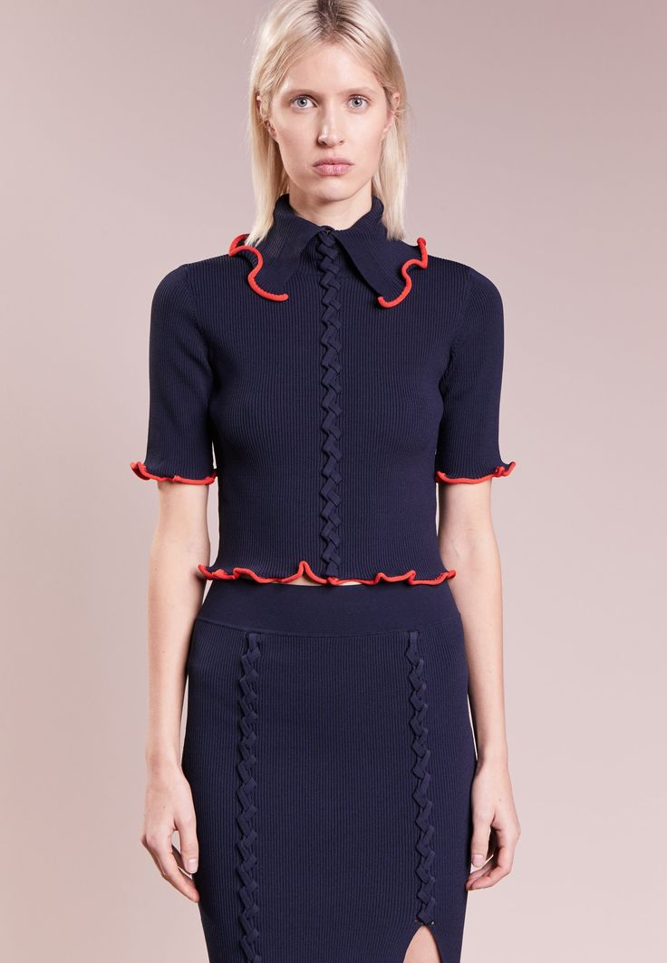 Opening Ceremony CRISS CROSS CROP TOP - T-shirt imprimé - collegiate navy - ZALANDO.FR
