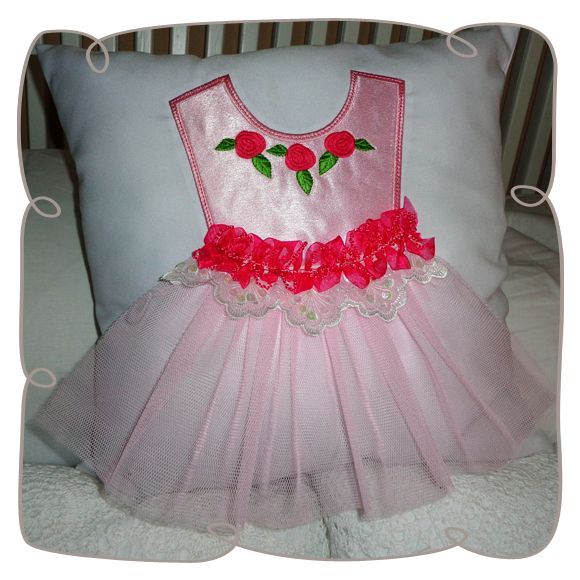 """Ballerina Dress pillow 6 x 10"""" Machine Embroidery Design"""