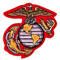 US Marine Patch Logo Embroidered on a red stiff felt cutout backing $2.80
