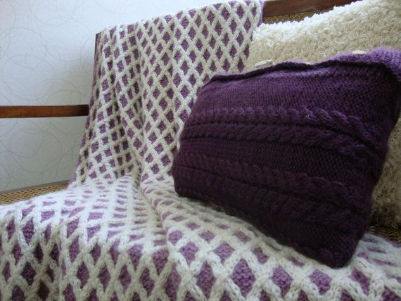 Hand Knit Alpaca Throw by DubrasenHome on Etsy.