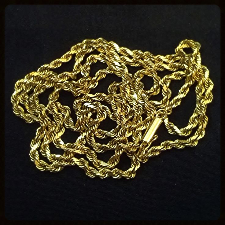 Gold Rope Chain Necklace 14k Vintage Cylinder Clasp