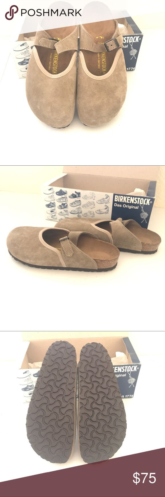 Birkenstock Ascot style Sandal New in box Papillio by Birkenstocks. Style Sydney, leather footbedliner, natural cork footbed, leather upper, EVA sole. Suede leather, taupe color. Size 39. Hard to find discontinued style. Birkenstock Shoes Sandals