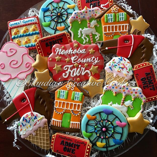 Neshoba County Fair time! #decoratedcookies #decoratedsugarcookies #customcookies #faircookies #carnivalcookies #ncf2016…