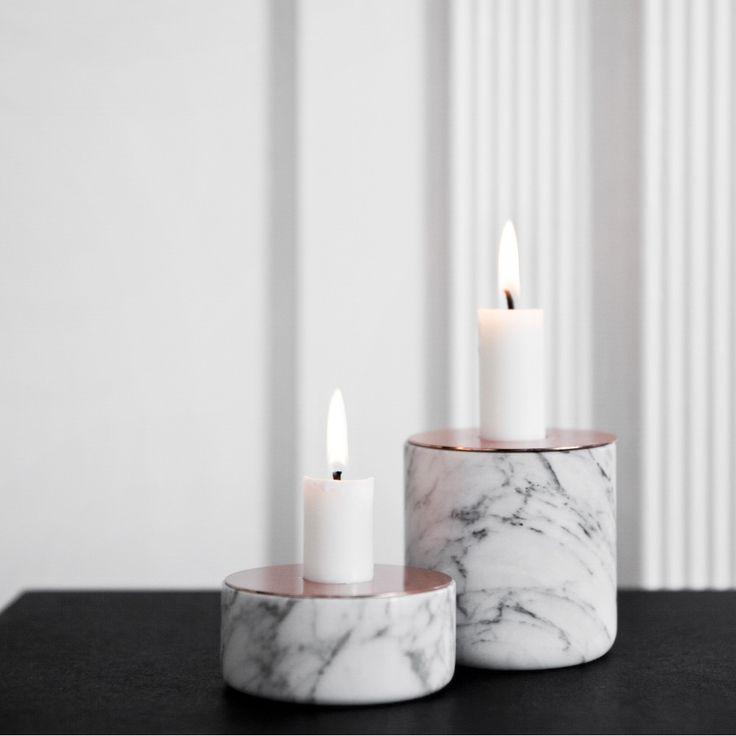 Menu Chunk of White Marble Candleholder