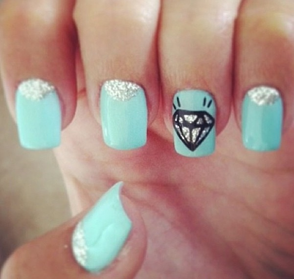 The 25 best blue diamond nails ideas on pinterest xmas nails acrylic nail designs with a diamond prinsesfo Gallery