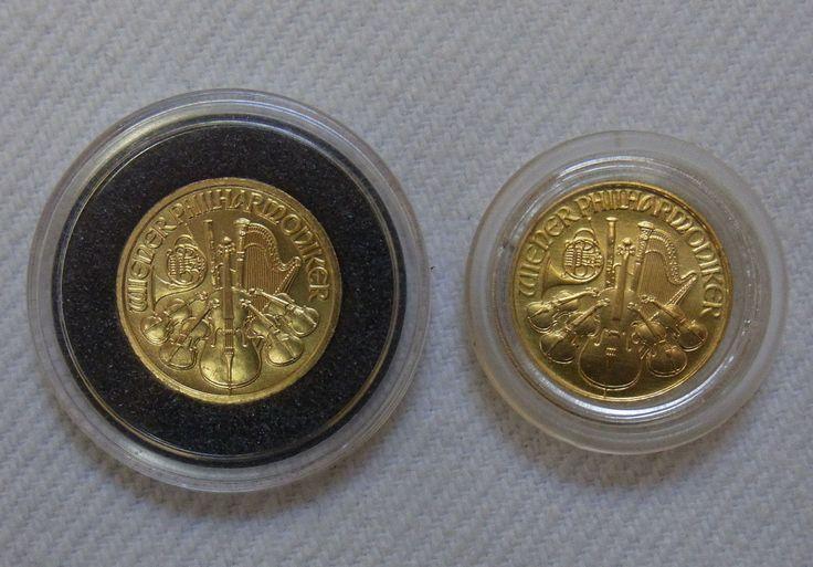 2 Goldmünzen - Wiener Philharmoniker 2 x 1/10 Unze Gold - 1991 und 2005sparen25.com , sparen25.de , sparen25.info