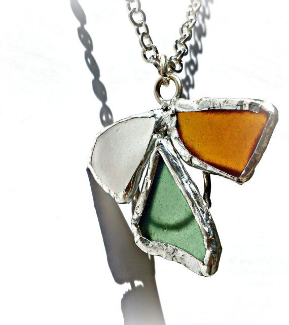 OOAK Greek islands souvenir Handmade/ Seaglass pendant angel shape /silver solder sea glass necklace/,ready to ship,gift for her