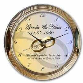 50 Jahre verheiratet : Goldene Hochzeitsuhr mit goldenem Rahmen und geräuscharmen Uhrwerk - Geschenkidee zur Goldenen Hochzeit