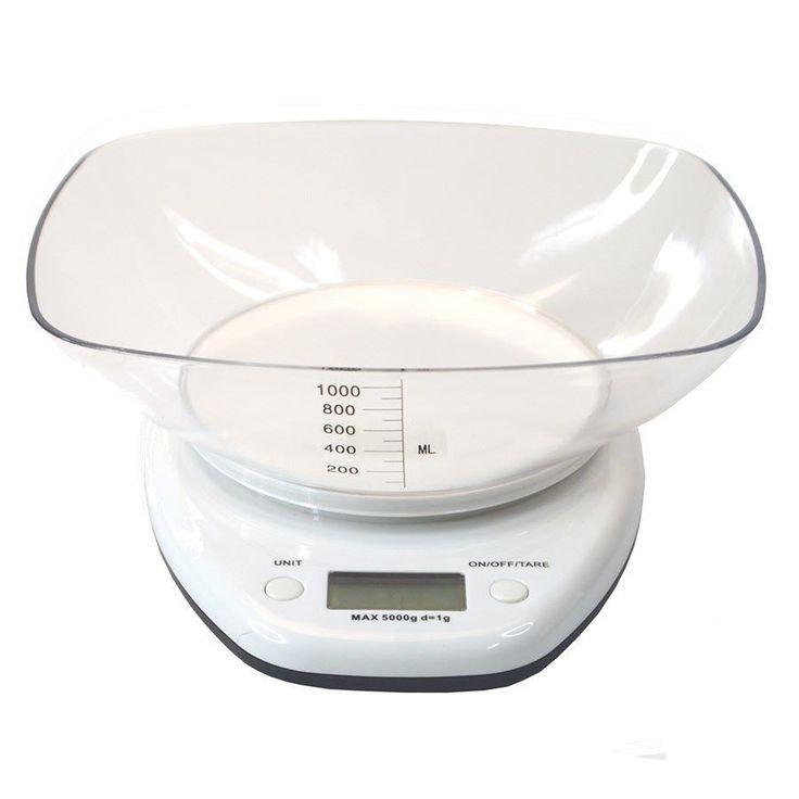 Balança Digital de Cozinha Bowl Branca 5 Kg