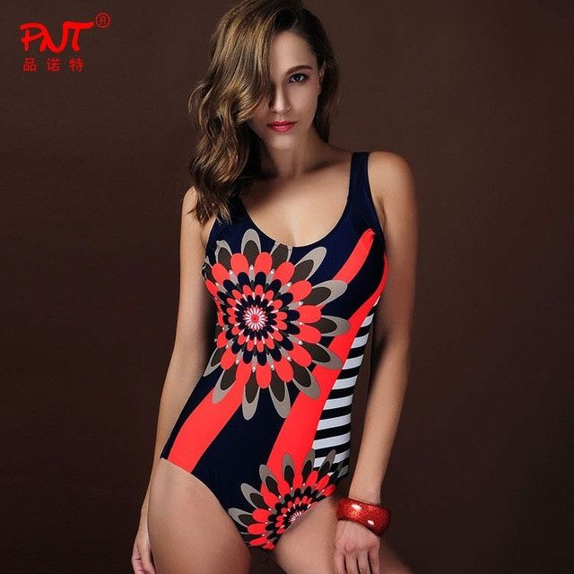 2016 Sexy Sunflower One Piece Swimsuit Hot sale striped Women Swimwear summer women Biquini dress Brazilian Beach wear bodysuit