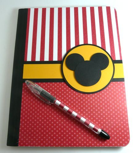 mickey book out of a composition notebook, would be great as a travel journal
