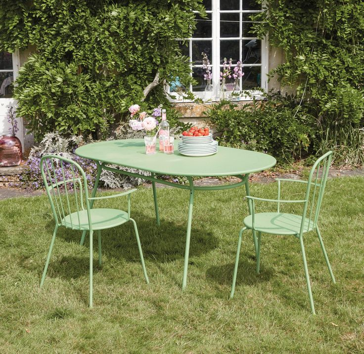 Charming green garden table and chairs   6-seater light green oval garden table Holly   Maisons du Monde