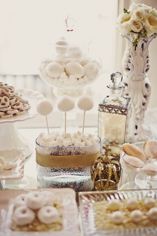 white and gold themed winter dessert table