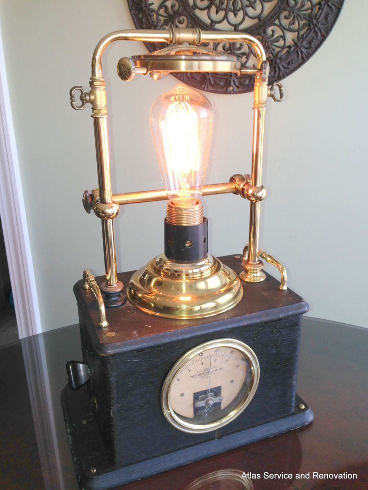 one of a kind steampunk lamp light handmade from recycled antique vintage wood