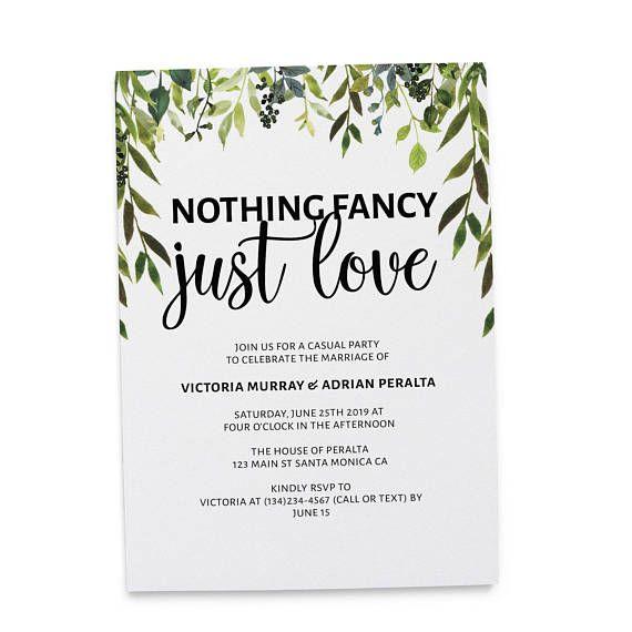 Greenery Nothing Fancy Just Love Elopement Wedding Reception Card Idea Casual Wedding Reception Wedding Announcement Cards Wedding Backyard Reception