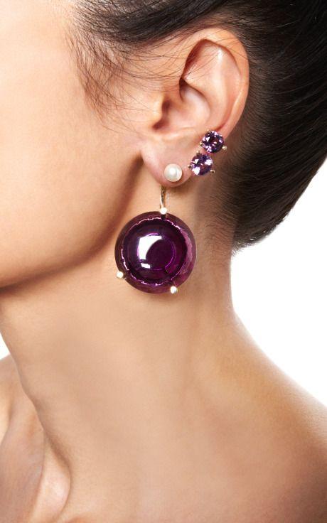 Never Too Light Earring In Purple Quartz by Delfina Delettrez for Preorder on Moda Operandi
