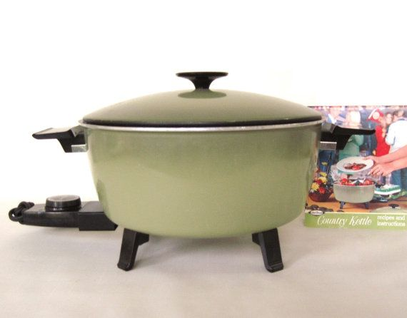 West Bend Country Kettle Electric Pot Avocado Green 1960s Kitchen See All Photos