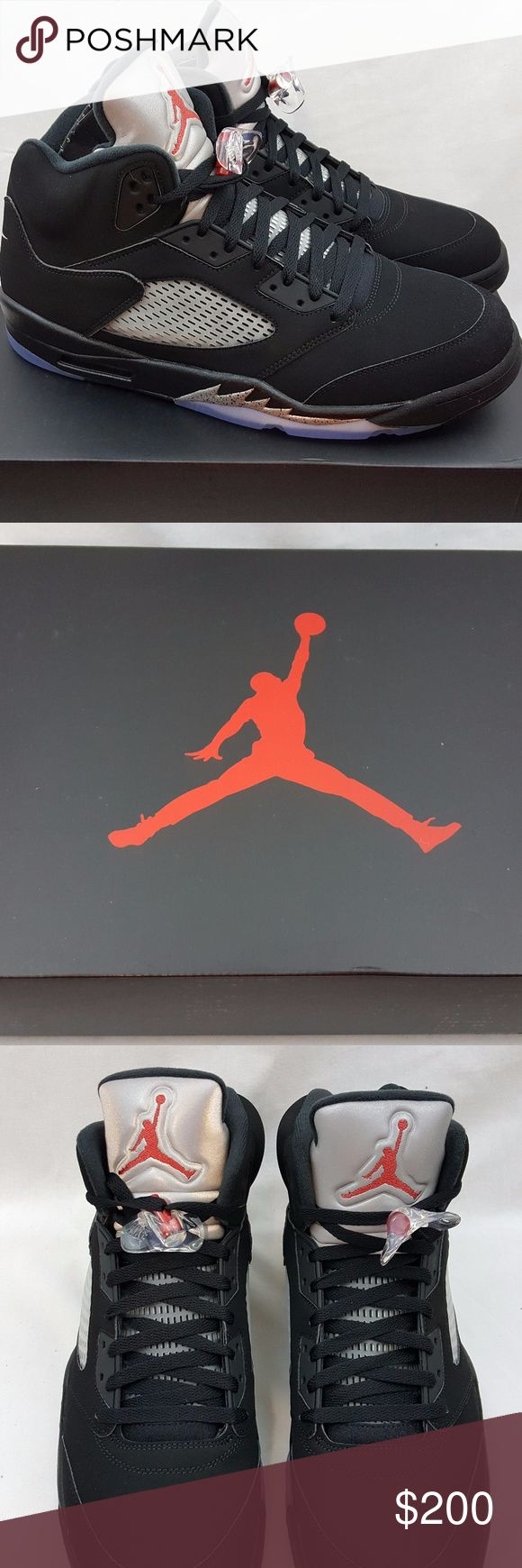 Nike Air Jordan 5 V Retro OG Black Red Size 15 Nike Air Jordan 5 V Retro OG Black Fire Red Metallic Silver 845035-003 Size 15 Brand: Nike Name: Air Jordan 5 V Retro Colorway: Black Fire Red Metallic Silver  Style Code: 845035-003 Year of Release: 2016 Size: 15 Condition: Brand new with box. Included Accessories: NA Additional Information: 100% authentic merchandise or your payment will be refunded in full. Air Jordan Shoes Athletic Shoes