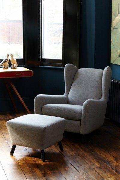 Rubens Wingback Armchair, nickel grey   made.com