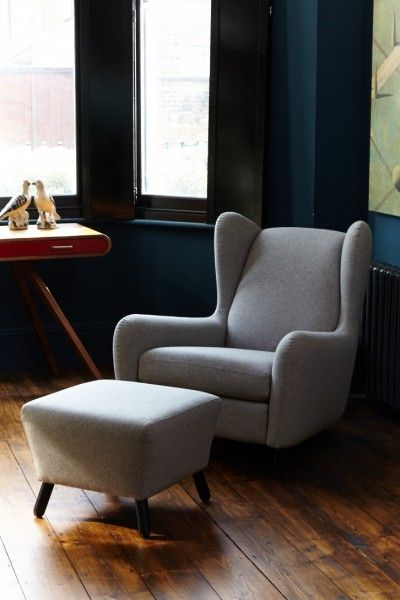 Rubens Wingback Armchair, nickel grey | made.com
