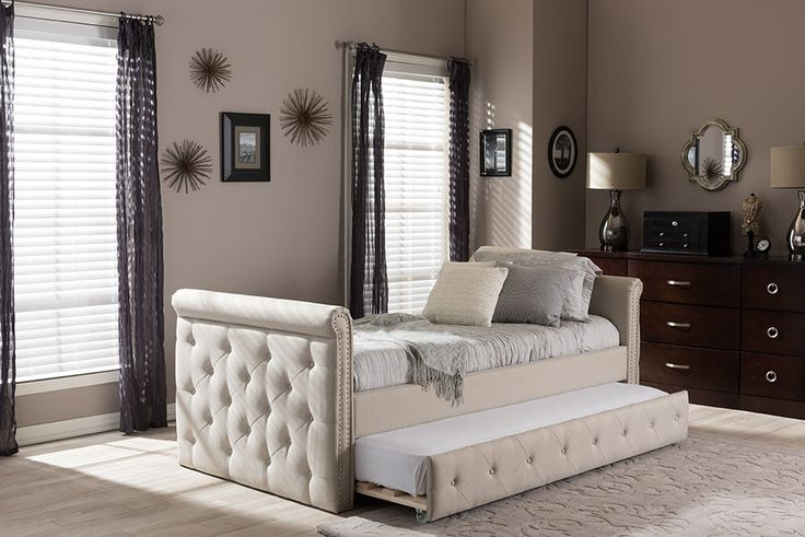 Baxton Studio Swamson Beige Tufted Twin Size Daybed w/ Roll-out Trundle