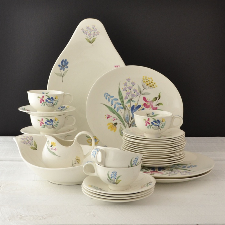 Vintage Dinnerware Set - Eva Zeisel - Hallcraft Bouquet Pattern - Mid Century Dinnerware Set of 36. $200.00, via Etsy.