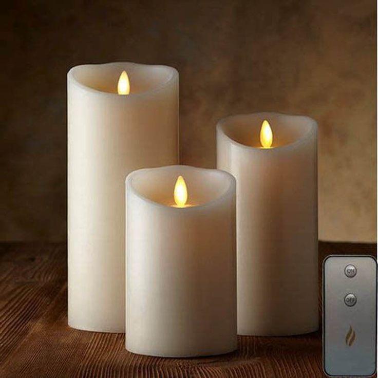 Luminara Flameless Pillar Ivory Candles Moving Wick LED Timer Remote Set of 3 #Luminara #ledchristmascandles