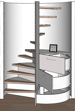 Drawers incorporated into spiral staircase