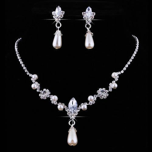 Pretty Prom Wedding Bridal Party Jewelry Crystal Rhinestone Necklace Earring Set