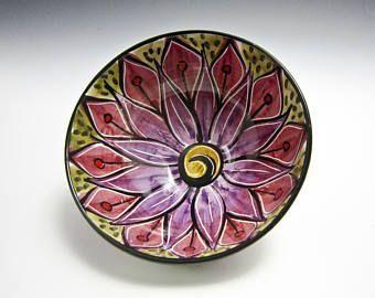 Pequeña porción cerámica Bowl - tazón de fuente de cerámica - loto púrpura rosa flor - Prep Bowl - mayólica Bowl - tazón de cereales - regalo para ella - Mandala