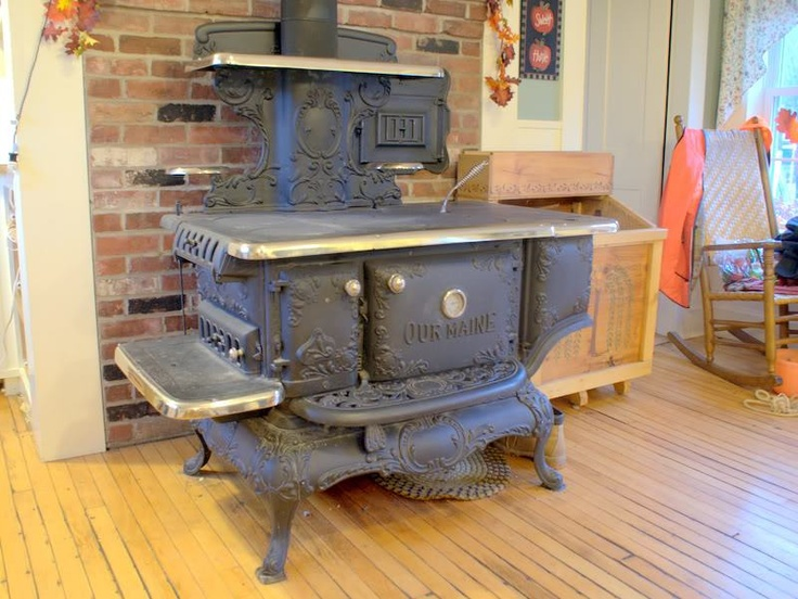 Our grandmother cooked on and heated her kitchen with a wood burning stove.  Imagine how fascinated we city kids were.she never had to put a stick of  wood in ... - 350 Best Images About Wood Cook Stoves On Pinterest Antiques