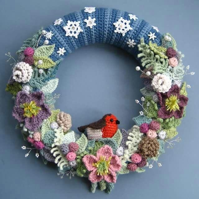 32 Best Crochet Wreaths Images On Pinterest Crochet Wreath Knit