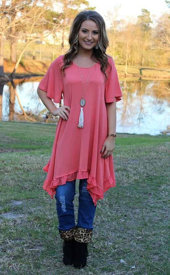 Ahead of the Curve Short Sleeve Tunic with Ruffle Hemline in Coral – Giddy Up Glamour Boutique
