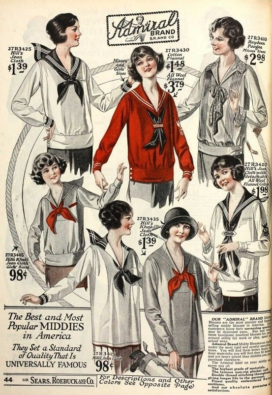 1920s vintage fashion ad for middies nautical blouses