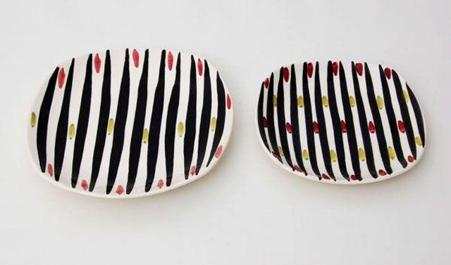 122 - Sorte striper med fargeprikker - Stavangerflint