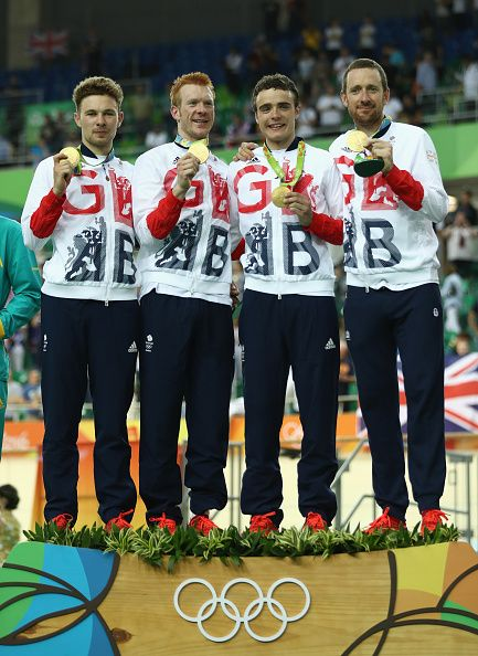 Gold medalists Owain Doull Edward Clancy Steven Burke and Bradley Wiggins of…