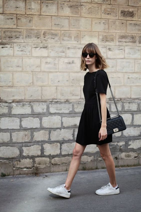 Women's Black Lace Skater Dress, White Low Top Sneakers, Black Quilted  Leather Crossbody Bag | Monochrome outfit, Black leather crossbody bag and  Black ...