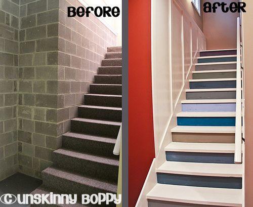 Painted Basement Wood Stairs Basement Mancave Basement Stairs Man