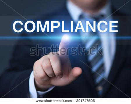 business, technology, internet and networking concept - businessman pressing compliance button on virtual screens - stock photo