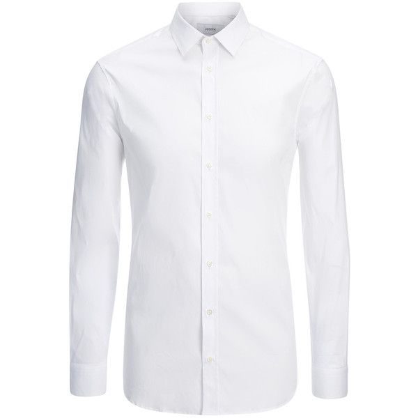 Joseph Poplin Stretch Jim Shirt in WHITE ($300) ❤ liked on Polyvore featuring men's fashion, men's clothing, men's shirts, men's casual shirts, men, shirts, tops, white, mens poplin shirt and mens slim shirts