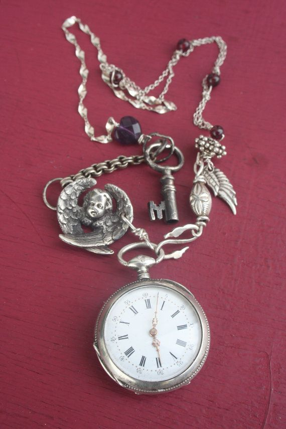 Pocket watch necklace cherub necklace Vintage pocket watch
