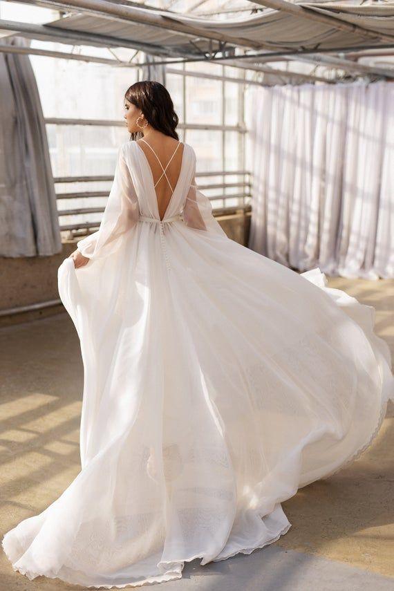 Boho Wedding Gown Long Sleeves Wedding Dress Organza Bridal Etsy In 2020 Wedding Dress Organza Wedding Dress Long Sleeve Wedding Dresses