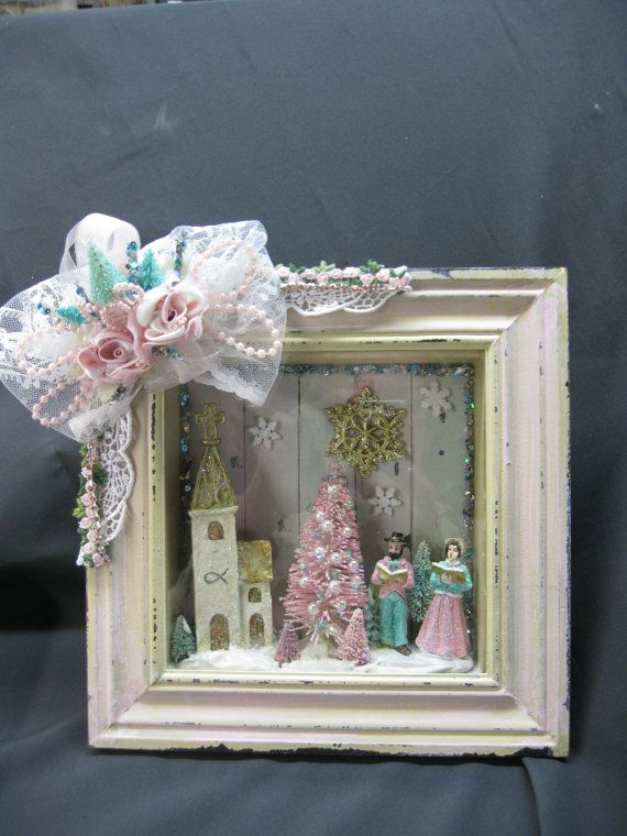 Shabby Chic Pink Christmas Shadowbox Picture with by KaysStudio