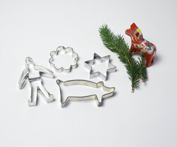Scandinavian Christmas Cookie Cutters Vintage Cookie Cutter Set of 4 Traditional Swedish Gingerbread Man Star Flower Pig Xmas Holiday Baking