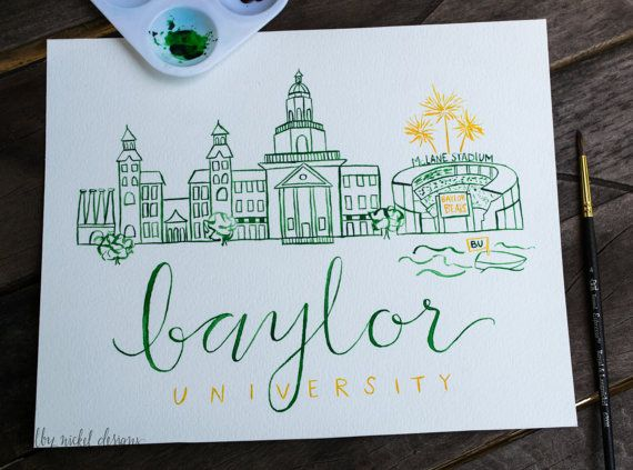 Baylor University Handmade Watercolor by ShelbyNickelDesigns