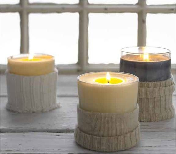 Upcycled Sweater Candles #diy #craft #recycle
