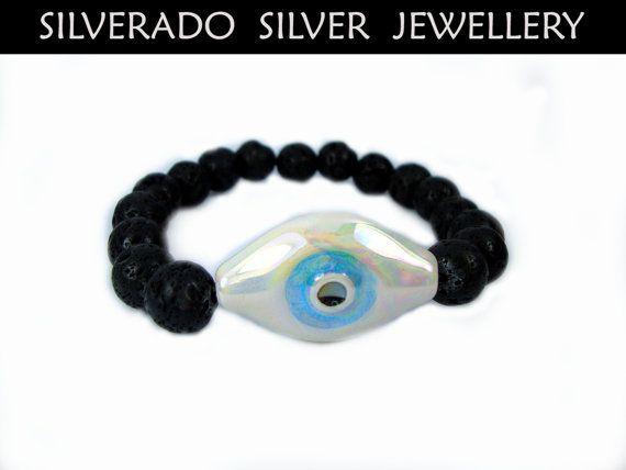 Santorini Natural Black Volcanic Lava 10mm Handmade Greek Ceramic Evil Eye Stretch Bracelet on Etsy, 19,00€